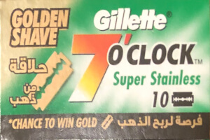 Gillette 7 o' clock Super Stainless Golden Shave Razor Blades